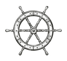 Wooden Ship Wheel. Sailing, Nautical Concept Sketch Vintage Vector Illustration