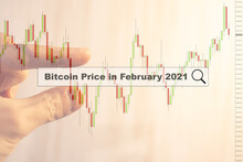 A Man Looks At The Maximum Price Of The Bitcoin Cryptocurrency At The End Of February 2021