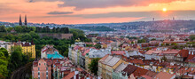 A Colorful Sunset Over The The Prague Cityscape In Czech Republic.