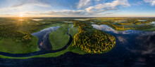 Aerial View Of The Vodlozero National Park, Republic Of Karelia, Russia.