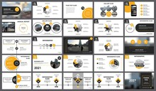 Abstract White, Yellow Slides. Brochure Cover Design. Fancy Info Banner Frame. Creative Set Of Infographic Elements. Urban. Title Sheet Model Set. Modern Vector. Presentation Templates, Corporate.