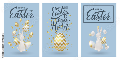 Easter posters or flyers design set with realistic 3d decoration. Golden eggs, ceramic bunny and cold confetti. Happy easter celebrating event cards, egg festival banners. Vector illustration.