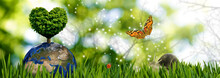 Image Of The Planet Earth And A Tree In The Shape Of A Heart On The Background Of A Summer Landscape Of Grass, Butterfly, Ladybug And Snail