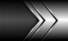 Abstract Silver Arrow Direction Overlap On Hexagon Mesh Design Modern Luxury Futuristic Background Vector Illustration.