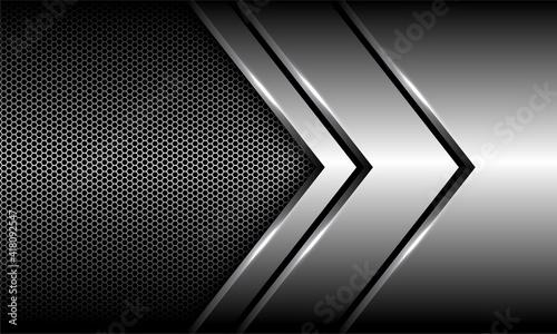 Fotografía Abstract silver arrow direction overlap on hexagon mesh design modern luxury futuristic background vector illustration