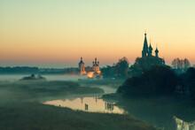 Annunciation Monastery In Sunrise.  Dunilovo Village. Ivanovo Region, Russia