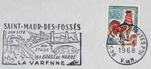 Briefmarke Stamp Gestempelt Used Frankiert Cancel Vintage Retro Post Letter Mail Brief Hahn Cock Vogel Bird Frankreich France French Slogan Werbung Saint Maur Des Fosses La Varenne Brücke Bridge Stade
