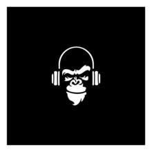Gorilla Head In Monochrome Style In Headphones Vector Illustration