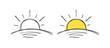 hand drawn yellow sun. doodle sun symbol