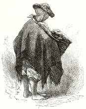 Bread And Butter Seller In Arequipa With A Shoulder Strap Basket, Peru, Back Viewed Of Full Body. Ancient Grey Tone Etching Style Art By Riou, Magasin Pittoresque, 1838