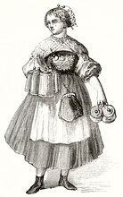 Full Body Brewery Waitress In Munich Holding Mugs And Tips Bag Shoulder Strap. Ancient Grey Tone Etching Style Art By Unidentified Author, Magasin Pittoresque, 1838
