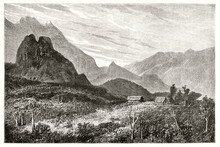 Two Isolated Little Houses Surrounded By Huge Natural Landscape In Cirque De Cilaos, Reunion Island. Ancient Grey Tone Etching Style Art By De Berard, Magasin Pittoresque, 1838