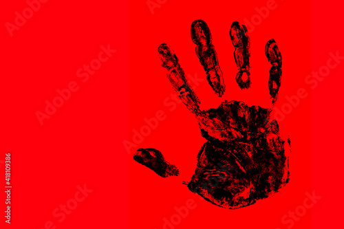 Fototapety, obrazy: Protest symbol background. Stop hand silhouette. Black hand isolated on red. Warning background. Palm hand paint stamp.