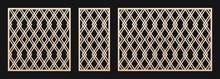Laser Cut Pattern Set. Vector Template With Abstract Geometric Ornament, Lines, Diamond Grid, Lattice, Net. Decorative Stencil For Laser Cutting Of Wood, Metal, Plastic. Aspect Ratio 1:1, 1:2, 3:2