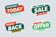 Sale Discount Banner With Special Offer Money Back Guarantee. Only Today Selling With Up To Ninety Percent Off, Shop Now Promotion Marketing Ticket Vector Illustration Isolated On Grey Background