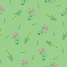 Wild Flower Sweet Pea And Gorse Seamless Repeating Pattern With Mint Green Background. Vector Illustration