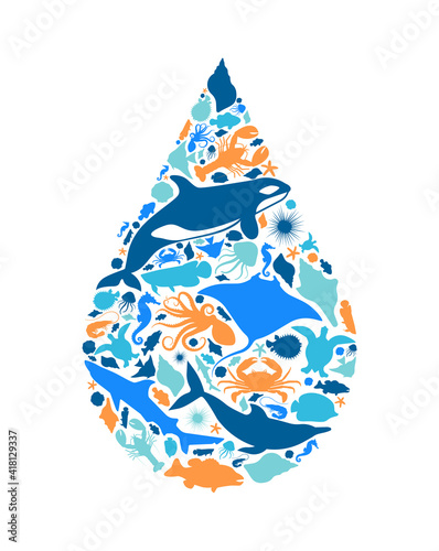 Obraz na plátně Blue marine fish animal icon water shape concept