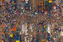 Aerial View Of People Working And Trading At Rahman Fish Market Along Karnaphuli River, Chittagong, Bangladesh.