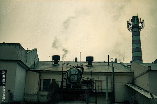 Obraz na plátne old factory with smoke