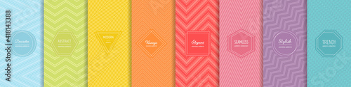 Fototapeta Rainbow chevron vector geometric seamless patterns collection. Set of bright colorful backgrounds with modern minimal labels. Cute abstract zigzag textures. Pattern design for Easter, holiday decor obraz na płótnie