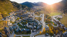 Aerial View Of Village Of El Tarter In Andorra, Located In The Parish Of Canillo