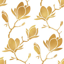 Elegant Floral Seamless Pattern Of Golden Blooming Magnolia Branches. Design For Wrapping Paper, Wallpaper Or Fabric