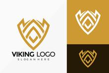 Shield Viking Emblem Logo Vector Design. Abstract Emblem, Designs Concept, Logos, Logotype Element For Template.