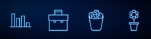 Set Line Full Trash Can, Pie Chart Infographic, Briefcase And Flower Pot. Glowing Neon Icon On Brick Wall. Vector.