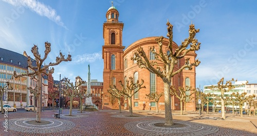 Panorama picture of Frankfurt Pauls Square with historic Paulskirche church against blue sky and sunshine - fototapety na wymiar