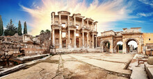 Panorama Of Ancient Library Of Celsus In Ephesus Under Dramatic Sky