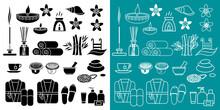 Ensemble De Pictogrammes D'objets Sur La Thème De La Beauté, La Santé Et La Remise En Forme Dans Un Spa.