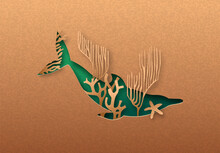 Green Dolphin Animal Paper Cut Coral Reef Concept
