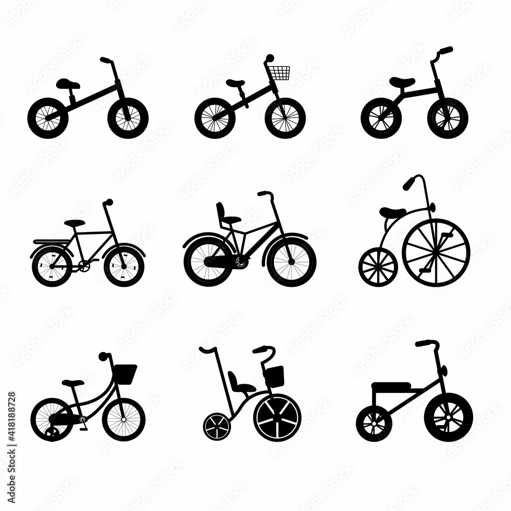 Fototapeta Kids bikes silhouettes from tricycles to teenagers. Black bicycles with different frame types.