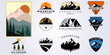 bundle mountain adventure outdoor logo vector set illustration design collection , camping, wild, life, style, hobby, sport