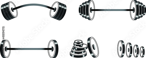 Foto 3D weight lifting barbell silhoutte, vector Dumbbell Bars Weight Disks