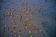Aerial View Of People Working In A Fishing Farm With Traditional Fishing Tool In Chatmohar, Rajshahi, Bangladesh.