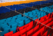Aerial View Of Colourful Cloth Hanged At The Thread In A Public Laundry In Narayanganj, Dhaka, Bangladesh.