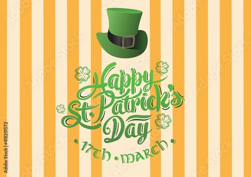 Happy st patrick's day 17th march text with green hat on yellow striped background
