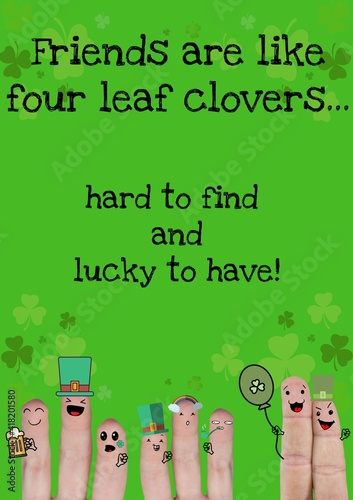 Hard to find and lucky to have text with fingers with st patrick's day decorations