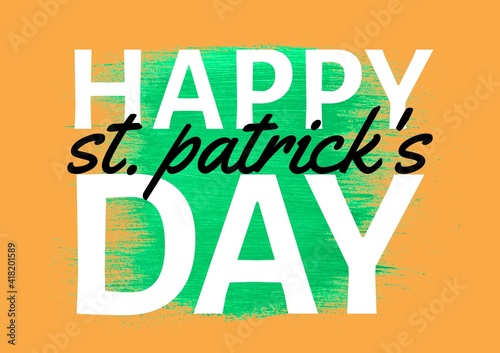 Happy st patrick's day text over green and orange background