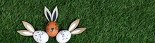 Easter Background Banner Panorama Greeting Card - Top View From White And Brown Easter Eggs With Bunny Ears / Easter Bunny, On Fresh Green Meadow