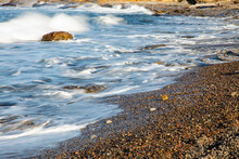 United States, California, Carmel, Point Lobos State Natural Reserve, Waves Rolling Ashore