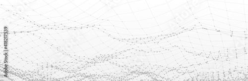 Abstract White Grey background. Technology line pattern with dots. 3d surface. Futuristic vector illustration - fototapety na wymiar