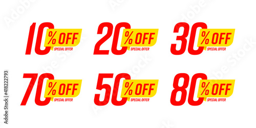Fotografía Special offer discount label with different sale percentage