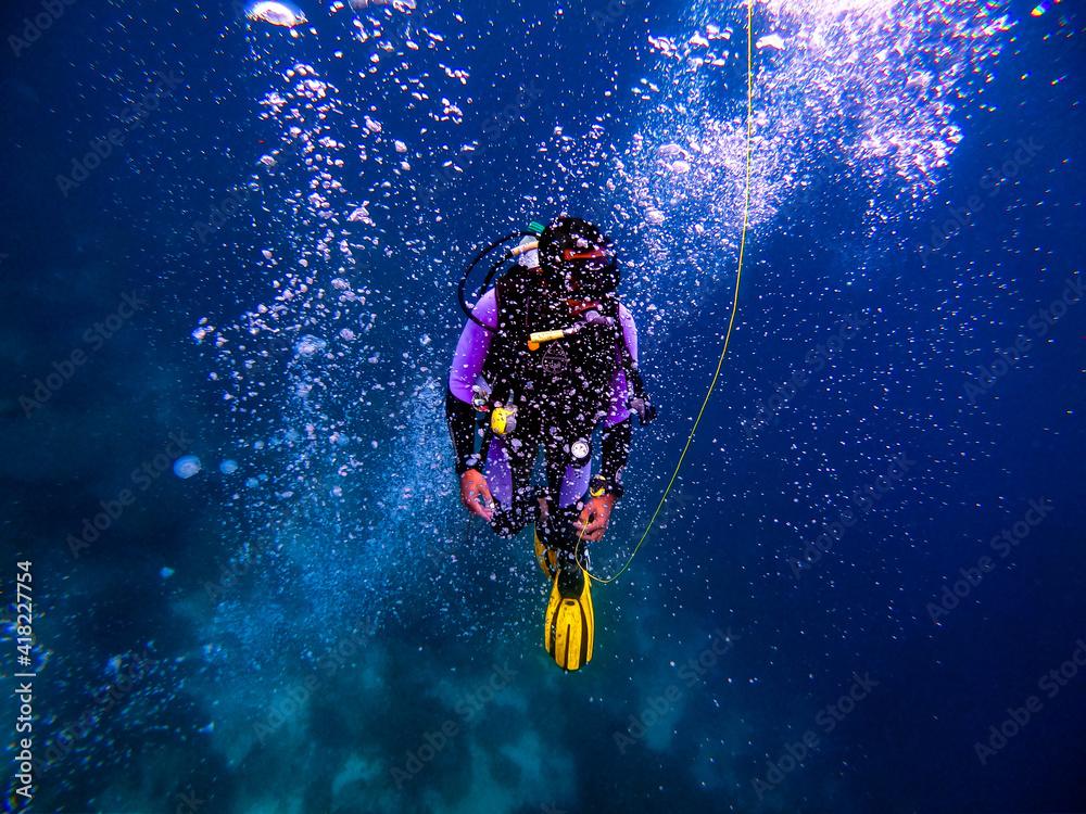 Fototapeta Closeup shot of a professional scuba diver diving underwater