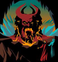 Great Italian Poet In Hell With Greek Ghost Looking A Three Headed King Demon