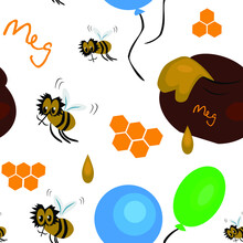 Endless Cartoon Drawing. Cartoon Winnie The Pooh. A Pot Of Honey. Drawing For Printing. Vector