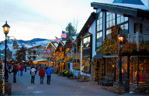 Vail, Colorado. Town in winter time with Christmas lights. Fototapeta
