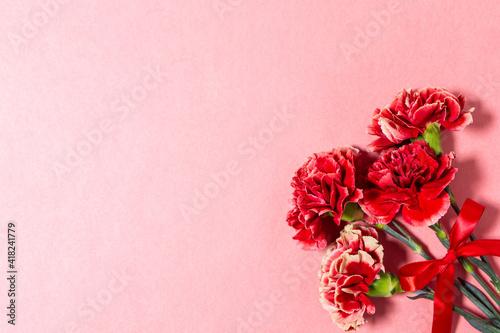 Foto 母の日の赤いカーネーションの花 ピンク背景