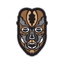 Samoan Style Mask. Polynesian Style Tiki. Isolated. Vector